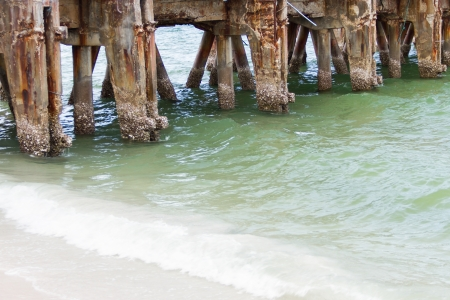 Concrete pillars of the the fishing pier, which was sea erosion photo