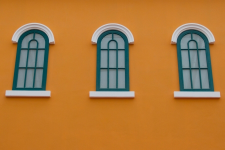 Window on the orange wall photo