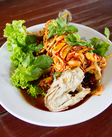 snakehead: Deep Fried Snakehead Fish Serve with Herb and Spicy Sauce