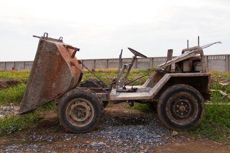 dumptruck: Old Dumper Truck on a construction site