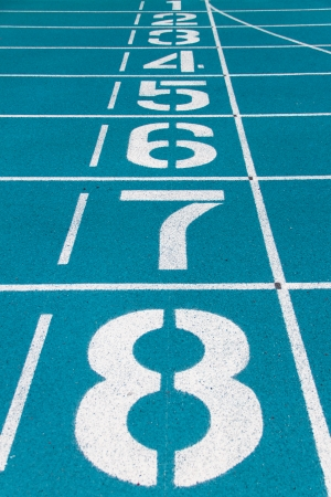 one lane: Starting line of blue running track