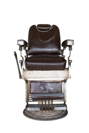 barber background: Old barber chair on white background Stock Photo