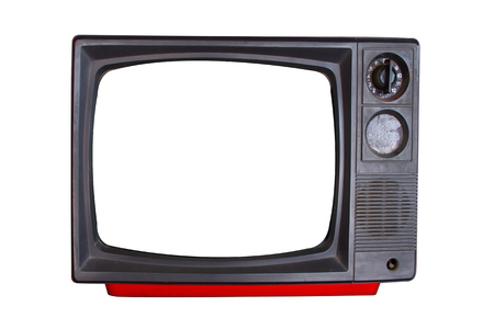 Old television on white background photo