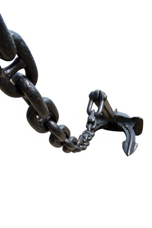 Chain and an anchor on white background photo