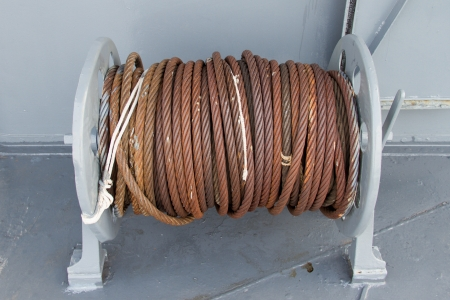 Roll of cable  rust on ship photo