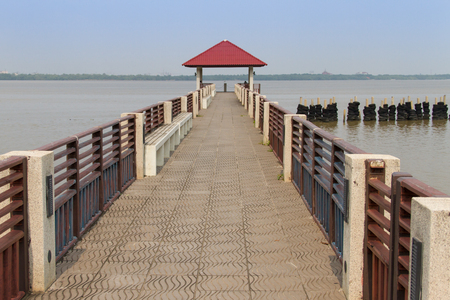 pavilion in the sea and walkway photo