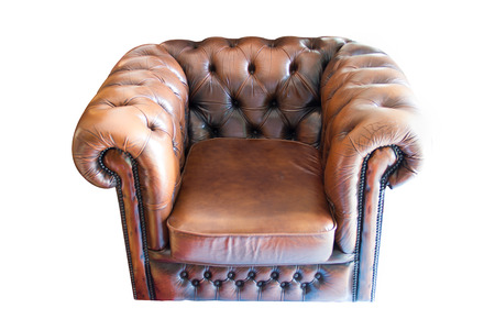 Old leather chair on white background