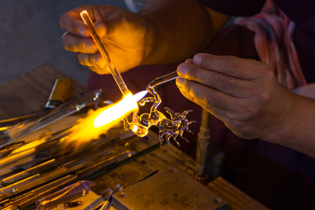 Blowing glass is horse shape