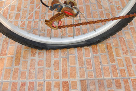 flat tyre: bicycles at the yard, with a flat tyre