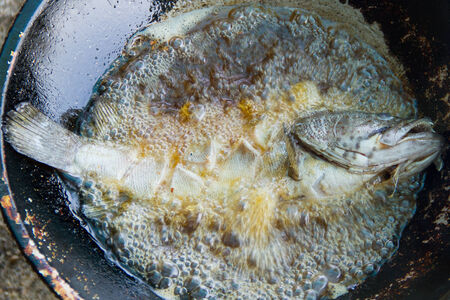 Fried fish in a frying pan photo