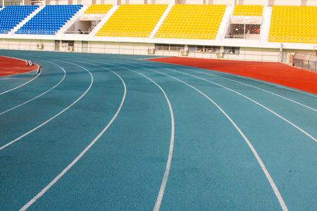 Blue running track and stadium