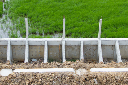 retaining: Retaining Wall at construction site Stock Photo
