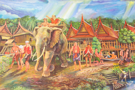 An ancient way of life in Thailand on Wat Palelia temple wall of the Lifestyle in Thailand:13 January 2013