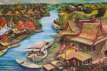 Way of life of the villagers along the river on Wat Palelia temple wall of the Lifestyle in Thailand:13 January 2013