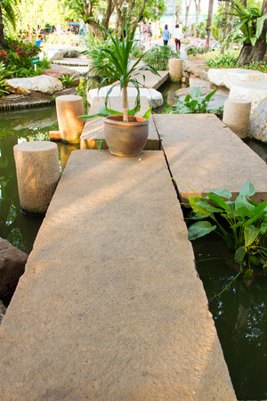 Bridge stone in the garden photo