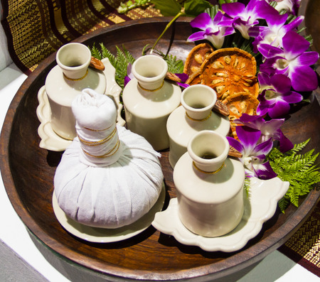 Natural lotion for massage spa treatment Thai style photo
