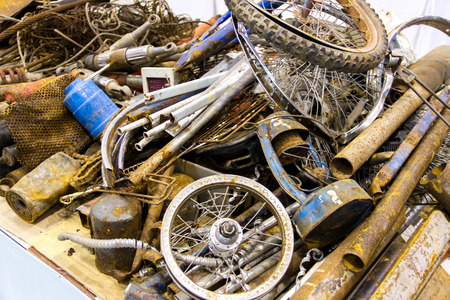 Pile of scrap metal for recycling photo