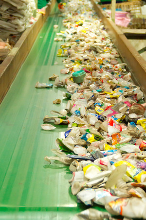 waste for recycling  at a factory