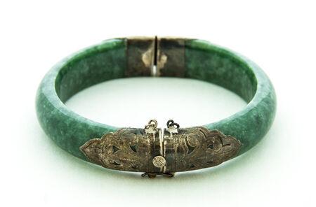 Bracelets made of jade on white background Reklamní fotografie