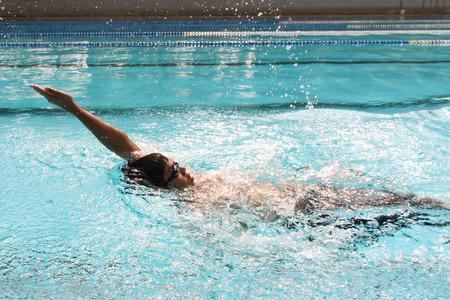backstroke: backstroke  in the swimming pool Stock Photo