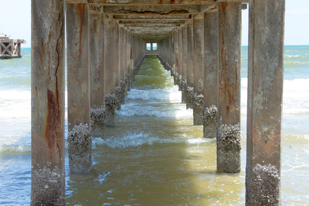 superstructure: reinforced concrete bridge columns are rusty in the sea