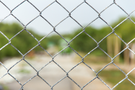 mesh fence: Steel mesh fence on outdoor