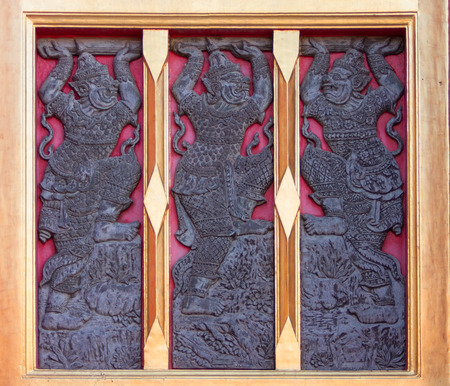 wood carvings: Giant wood carvings in Thailand temple