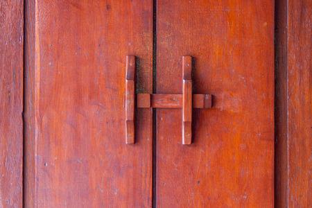 door bolt: wooden bolt at the door