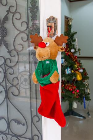 put: Put socks for Christmas gifts Stock Photo