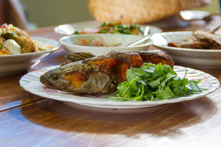 snakehead: Thailand style striped snakehead fish fried foods Stock Photo