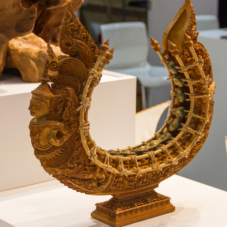 thai musical instrument: gong circle Carved from wood Stock Photo
