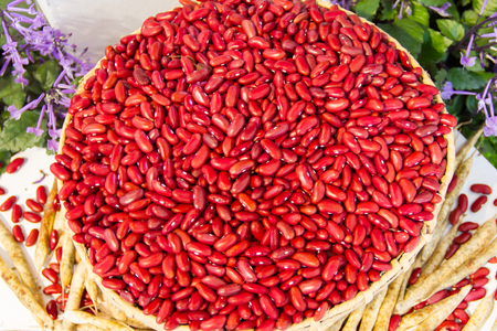 Red beans in baskets