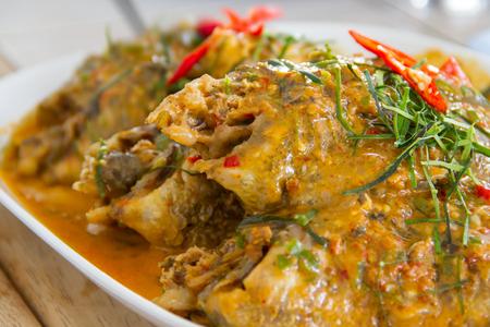Curry-fried fish(Chu Chee fish) Stock Photo