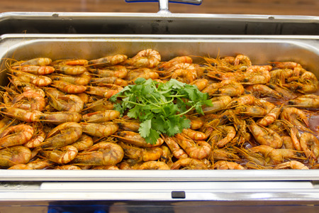 crustaceans: Shrimp baked in a tray