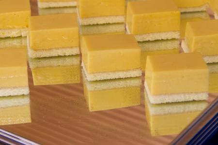 Cheesecake on tray Stock Photo