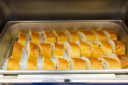 Bread put on tray