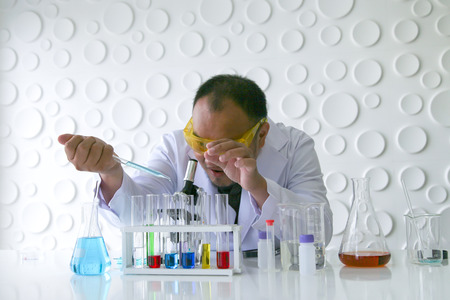 Scientists experiment in laboratory science. Banque d'images