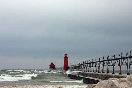 Lighthouses in winter photo