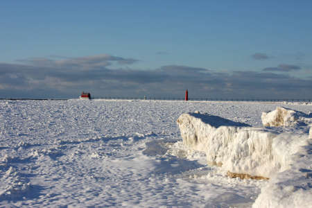 Great Lakes lighthouses in winter photo