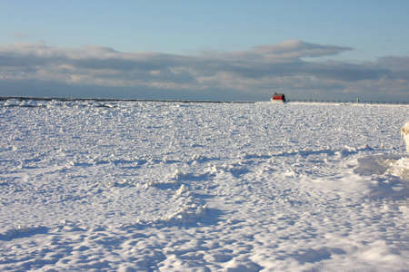 View of Lake Michigan in winter photo