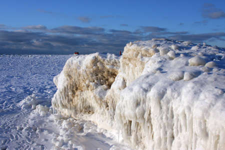 Ice formations on Lake Michigan photo
