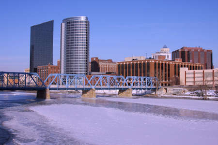 View of Grand Rapids from above Grand River Stock Photo