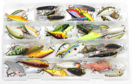 containing: Tackle box containing crankbaits Stock Photo