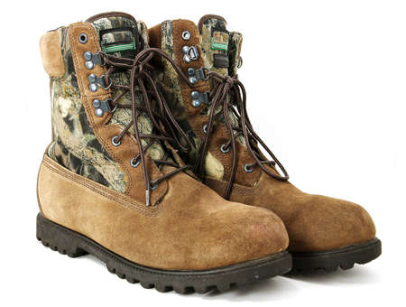 Worn hunting boots