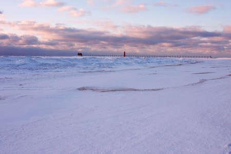 michigan snow: Lake Michigan beach in winter Stock Photo