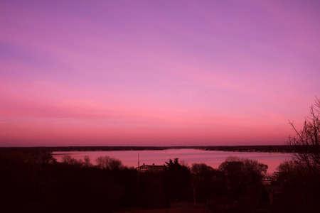Sunset over Lake Macatawa Фото со стока