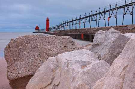 The south pier at Grand Haven beach photo