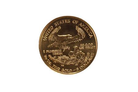 Reverse of gold eagle coin Banco de Imagens