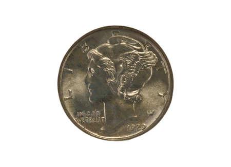 dime: 1929 Mercury dime closeup