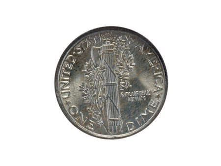 Reverse of silver Mercury dime Banco de Imagens